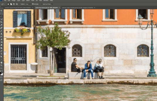 Use Patch tool for remove object from image on photoshop